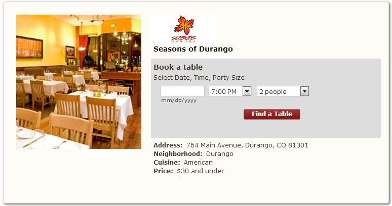 Seasons of Durango Book Online Reservations