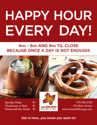 Seasons Durango Downtown Happy Hour