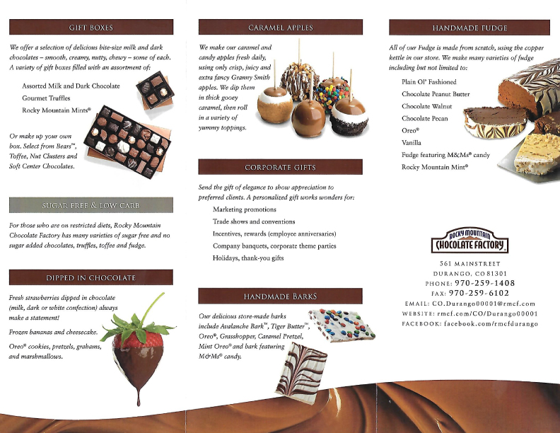 Rocky Mountain Chocolate Factory Menu