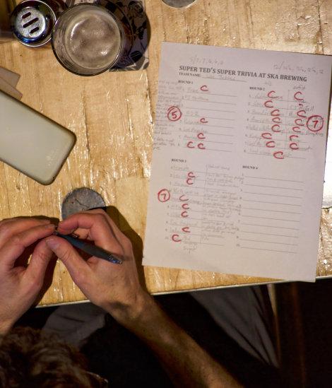 A trivia team\'s scorecard at Super Ted\'s Super Trivia