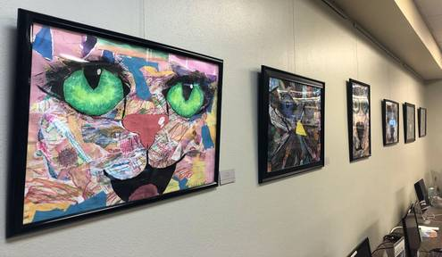 Student artwork on display at Pine River Library