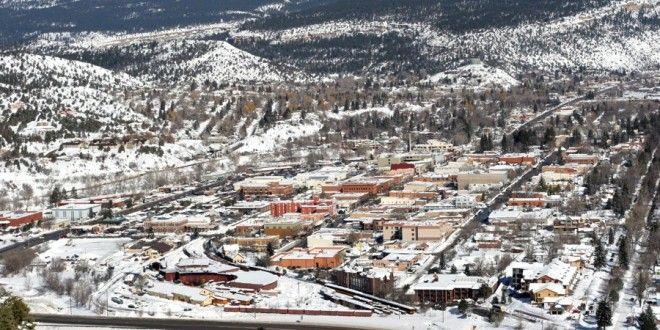 View of Durango Colorado from Smelter Mountain Snow