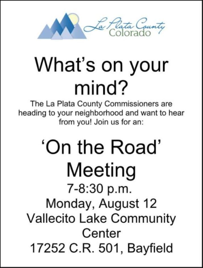 Vallecito Lake Event Center On The Road Flyer Meeting Information