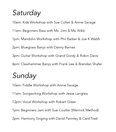Bluegrass Meltdown Workshop Schedule