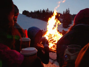 Family at Full Moon Alpine Bonfire